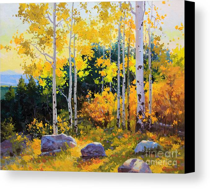 Nature Canvas Print featuring the painting Autumn Beauty Of Sangre De Cristo Mountain by Gary Kim