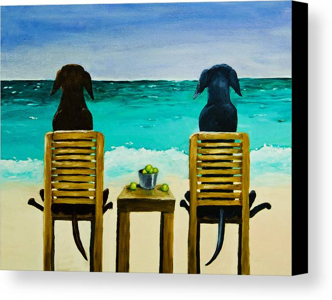 Labrador Retriever Canvas Print featuring the painting Beach Bums by Roger Wedegis