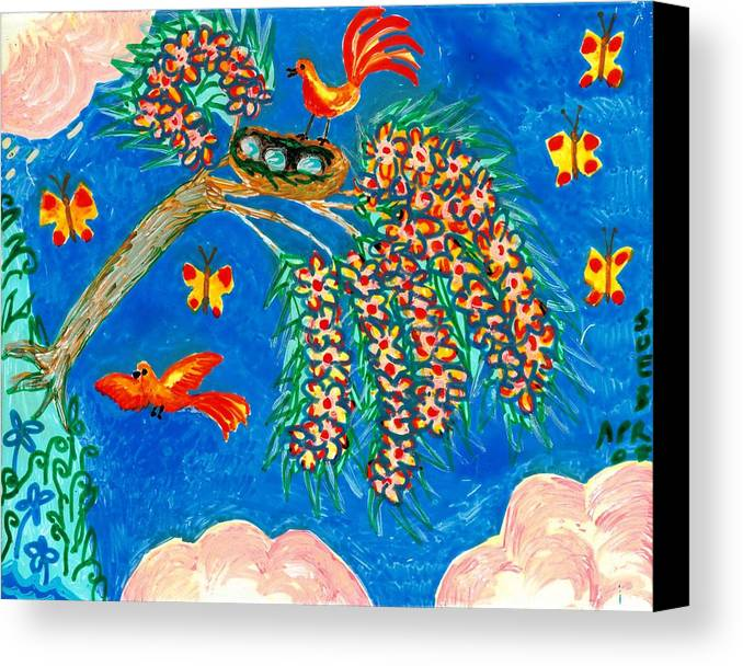 Sue Burgess Canvas Print featuring the painting Birds And Nest In Flowering Tree by Sushila Burgess
