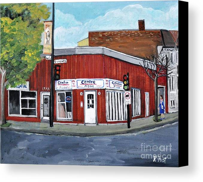 Verdun Canvas Print featuring the painting Centre Pizza Verdun by Reb Frost