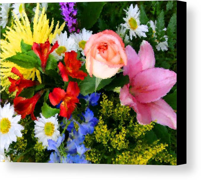 Flowers Canvas Print featuring the digital art Color Explosion by Kristin Elmquist