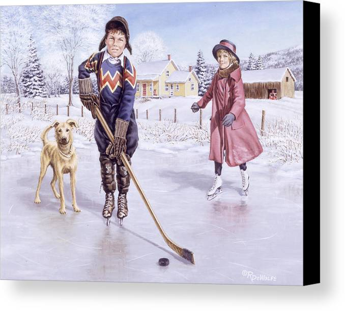 Winter Canvas Print featuring the painting Dreams Of Glory by Richard De Wolfe