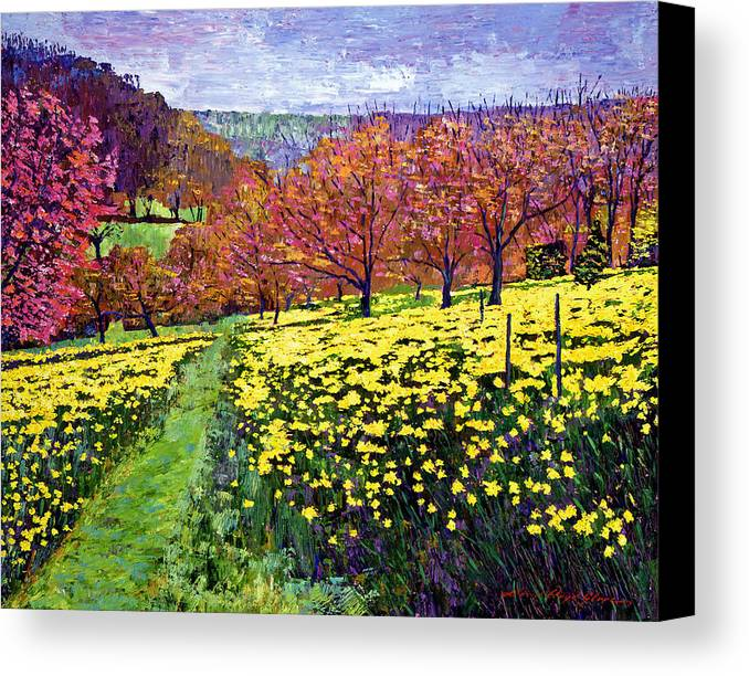 Impressionist Canvas Print featuring the painting Fields Of Golden Daffodils by David Lloyd Glover