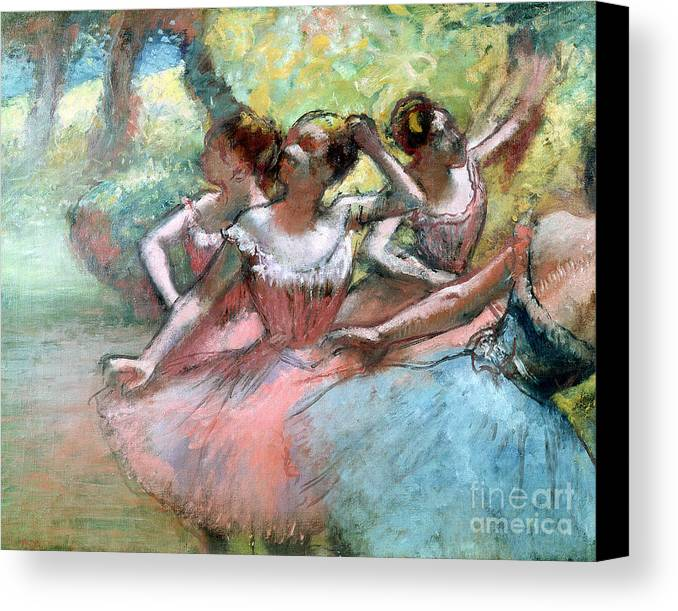 4 Canvas Print featuring the pastel Four Ballerinas On The Stage by Edgar Degas