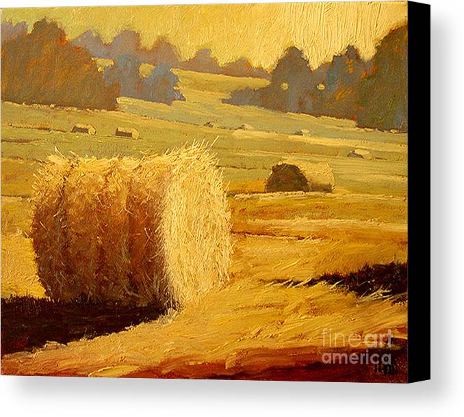 Hay Canvas Print featuring the painting Hay Bales Of Bordeaux by Robert Lewis