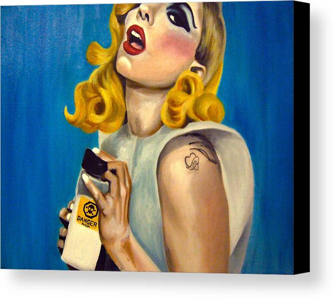Fan Art Canvas Print featuring the painting Lady Gaga Commission by Emily Jones