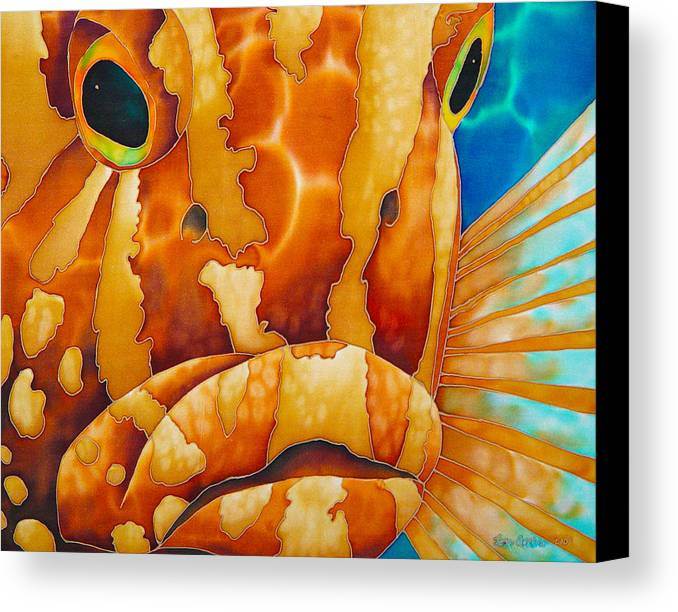 Grouper Painting Canvas Print featuring the painting Nassau Grouper by Daniel Jean-Baptiste