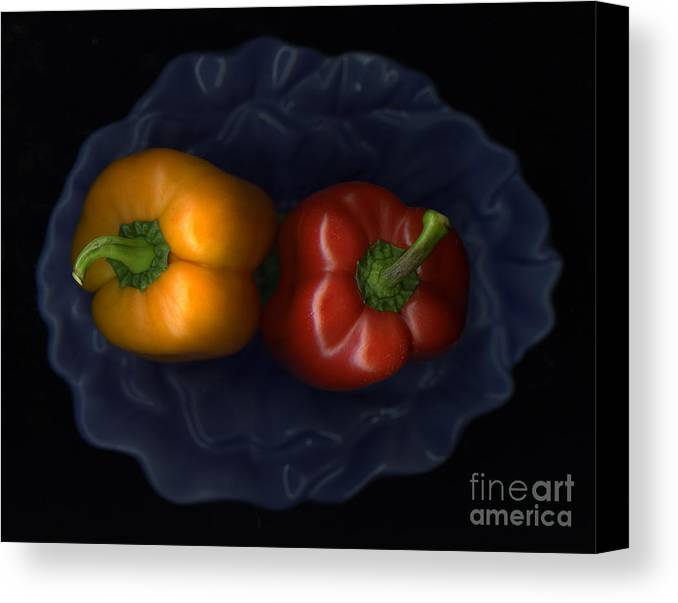 Slanec Canvas Print featuring the photograph Peppers And Blue Bowl by Christian Slanec