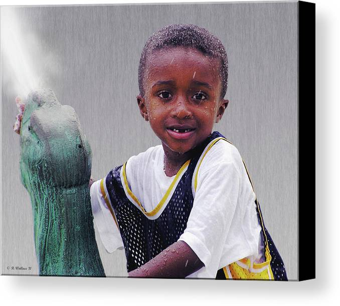 2d Canvas Print featuring the photograph Philly Fountain Kid by Brian Wallace
