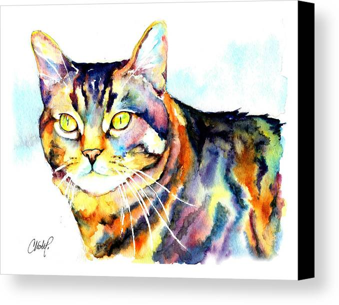 Tabby Canvas Print featuring the painting Punky Kitty by Christy Freeman