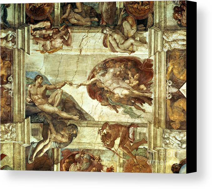 The creation of adam canvas print canvas art by michelangelo for Creation of adam mural