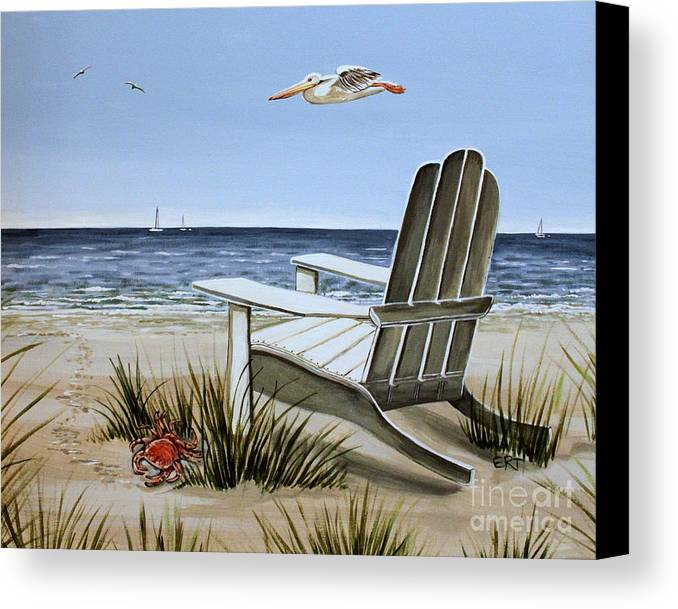 Landscape Canvas Print featuring the painting The Pelican by Elizabeth Robinette Tyndall