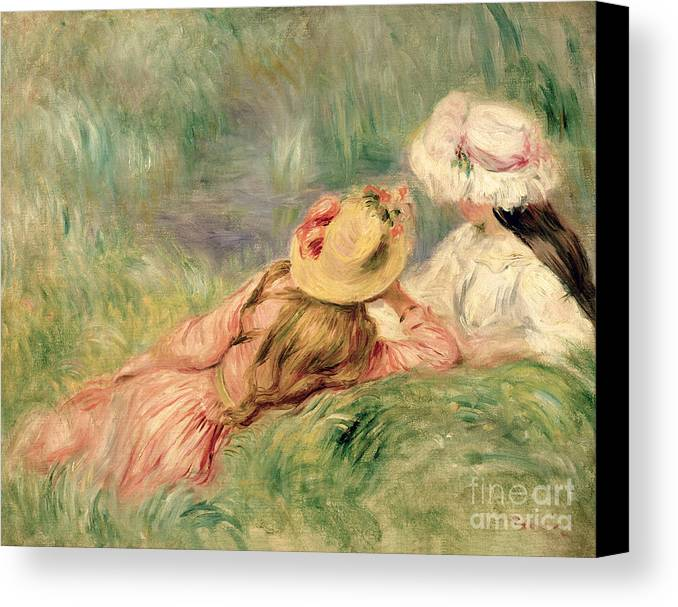 Young Canvas Print featuring the painting Young Girls On The River Bank by Pierre Auguste Renoir