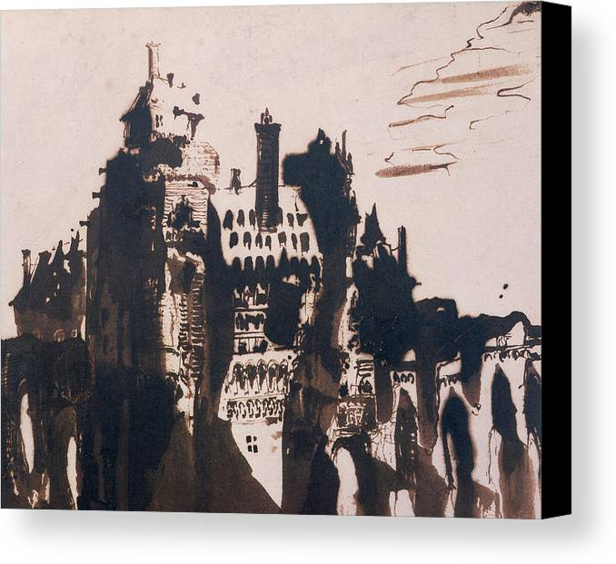 Bridge Canvas Print featuring the painting Chateau Fortified By Two Bridges by Victor Hugo