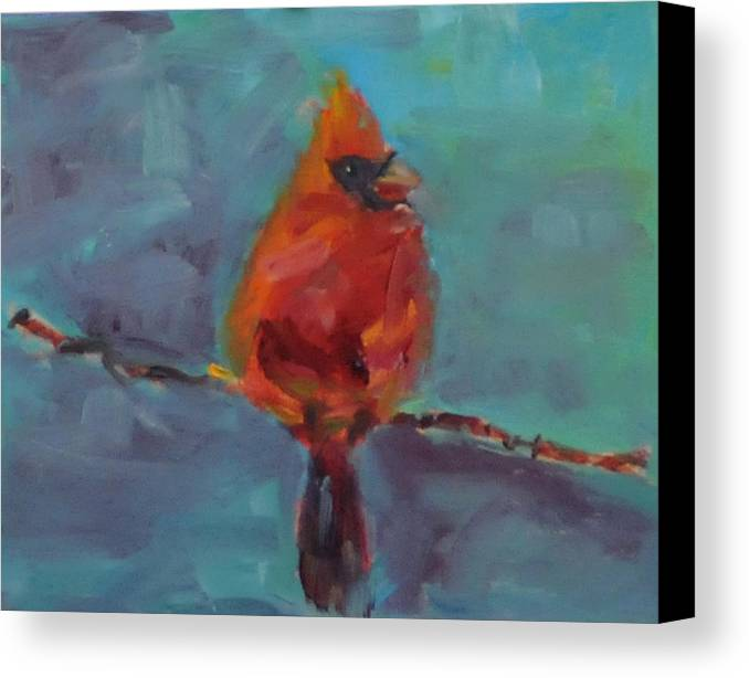 Bird Canvas Print featuring the painting Oklahoma Cardinal by Susie Jernigan