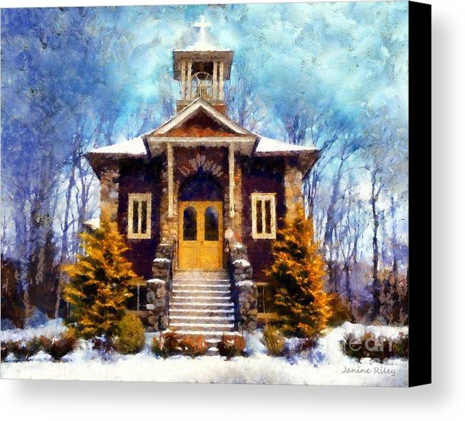 Church Canvas Print featuring the photograph Poconos Country Church by Janine Riley