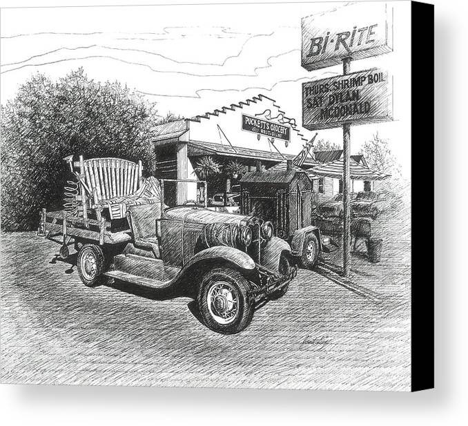 Leipers Fork Canvas Print featuring the drawing Puckett's Grocery And Restuarant by Janet King
