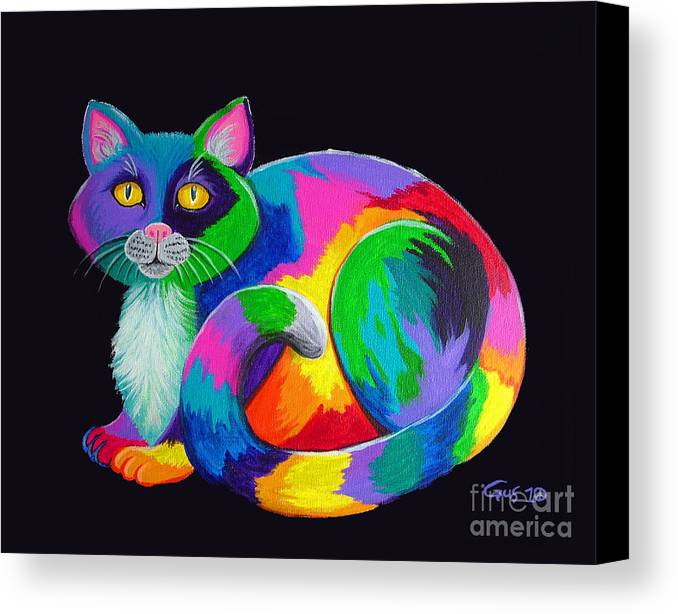 Art Canvas Print featuring the painting Rainbow Calico by Nick Gustafson