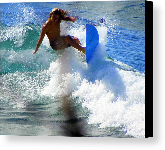 Surfers Canvas Print featuring the photograph Wave Rider by Karen Wiles