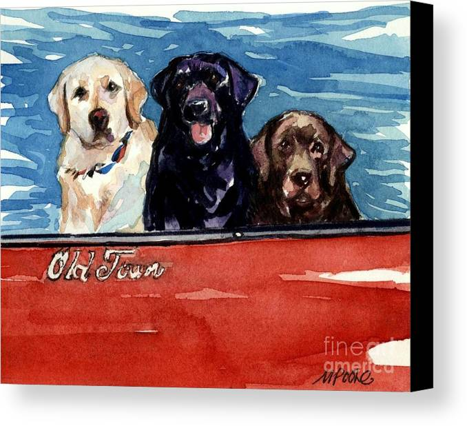 Labrador Retrievers Canvas Print featuring the painting Whole Crew by Molly Poole