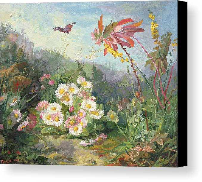 Wild Flowers And Butterfly Canvas Print featuring the painting Wild Flowers And Butterfly by Jean Marie Reignier