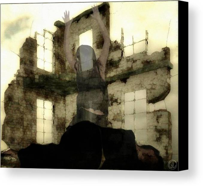 Digital Art Canvas Print featuring the digital art Abandoned House by Gun Legler