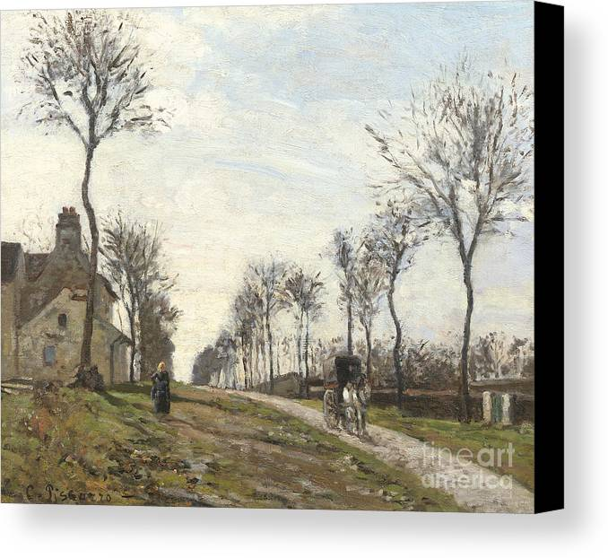 Camille Canvas Print featuring the painting Road In Louveciennes by Camille Pissarro