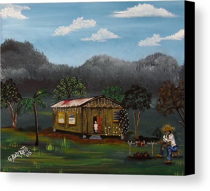 Lecheon A La Bara Canvas Print featuring the painting Lecheon A La Bara by Gloria E Barreto-Rodriguez