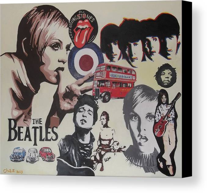 60's Montage Canvas Print featuring the painting 60's Montage by Cherise Foster