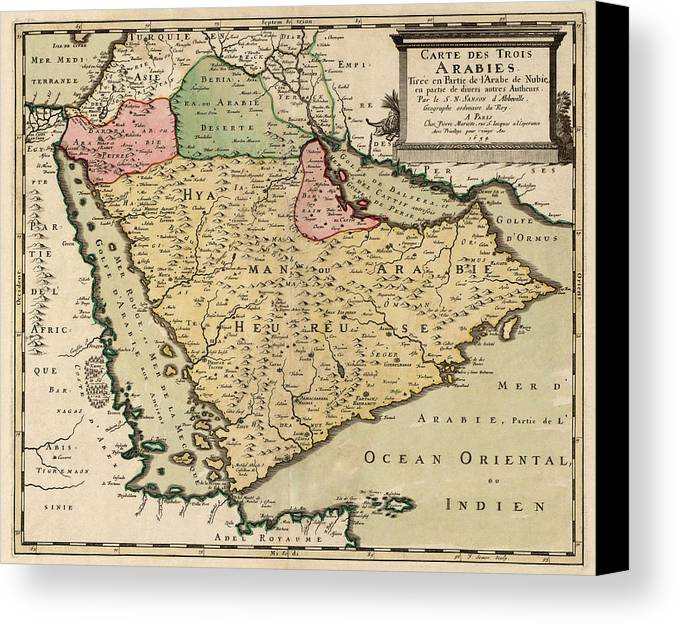 Saudi Arabia Canvas Print featuring the drawing Antique Map Of Saudi Arabia And The Arabian Peninsula By Nicolas Sanson - 1654 by Blue Monocle