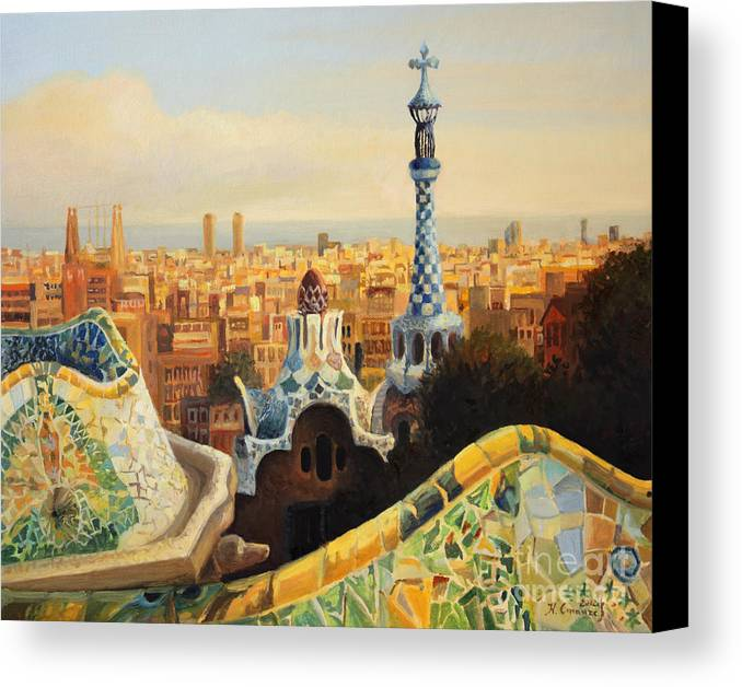 Antoni Gaudi Canvas Print featuring the painting Barcelona Park Guell by Kiril Stanchev