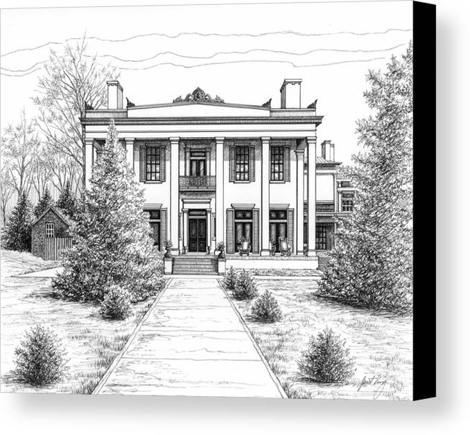 Pen Canvas Print featuring the drawing Belle Meade Plantation by Janet King