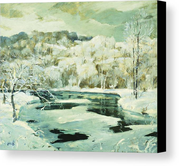 American Canvas Print featuring the painting Frosted Trees by Jonas Lie