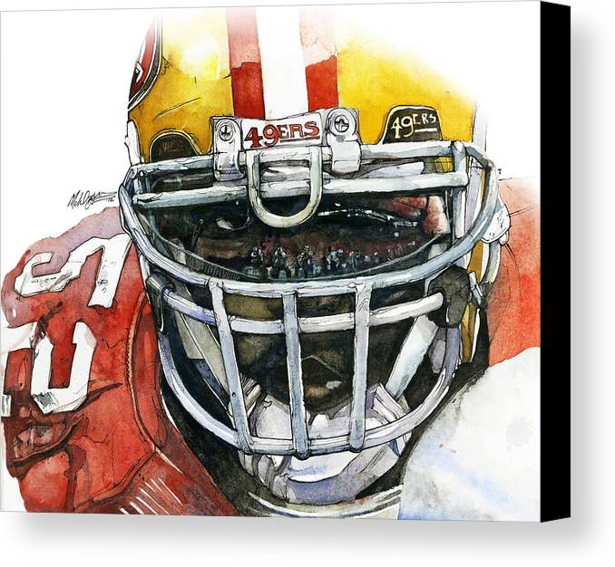 Patrick Canvas Print featuring the painting Patrick Willis - Force by Michael Pattison