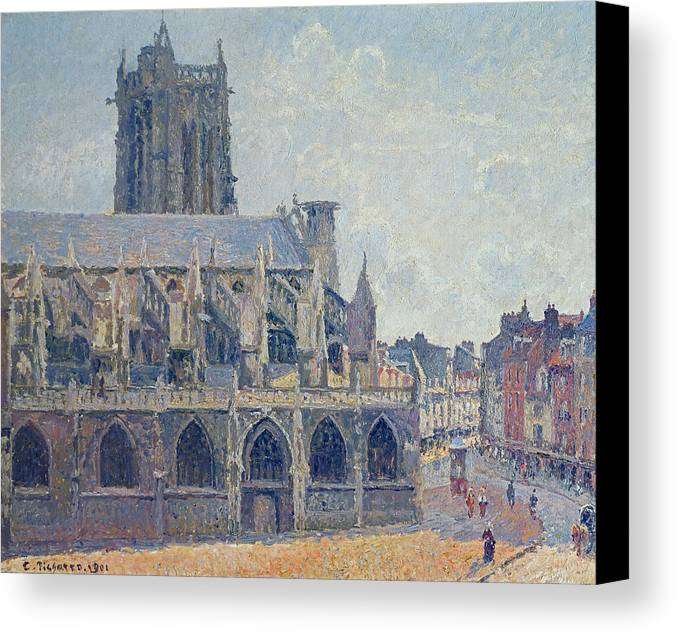 Camille Canvas Print featuring the painting The Church Of St Jacques In Dieppe by Camille Pissarro
