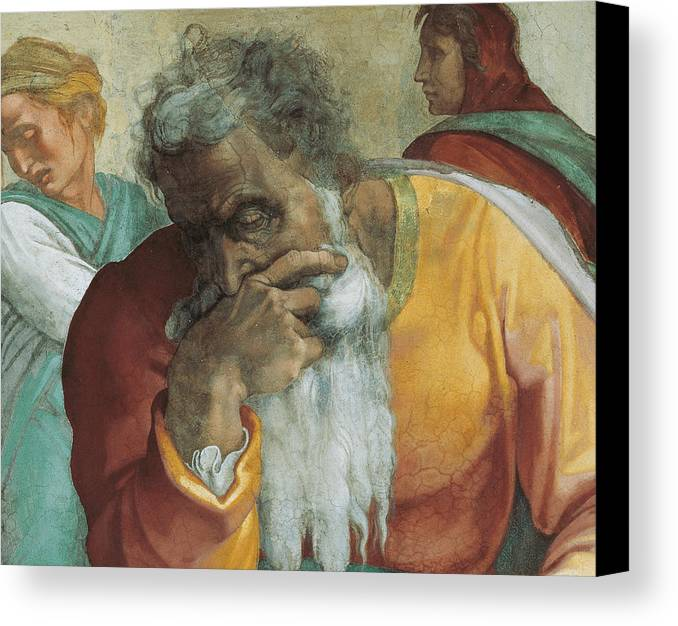 Old Canvas Print featuring the painting The Prophet Jeremiah by Michelangelo