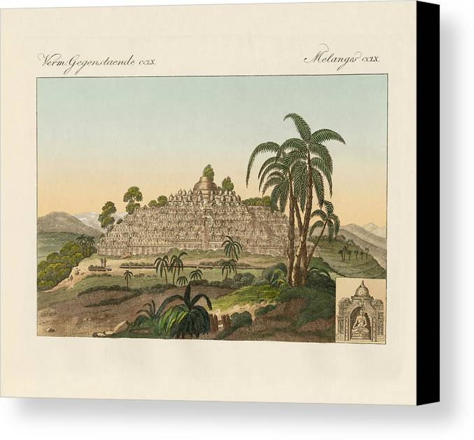 Bertuch Canvas Print featuring the drawing The Temple Of Buddha Of Borobudur In Java by Splendid Art Prints