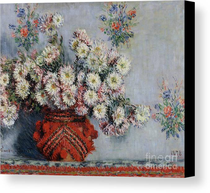Chrysanthemums Canvas Print featuring the painting Chrysanthemums by Claude Monet