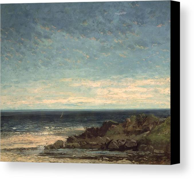 The Canvas Print featuring the painting The Sea by Gustave Courbet
