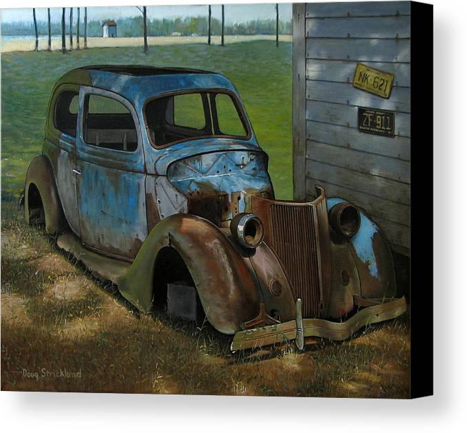 Doug Strickland Canvas Print featuring the painting Blue Ford by Doug Strickland