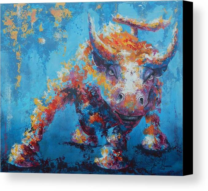 Abstract Canvas Print featuring the painting Bull Market X by John Henne