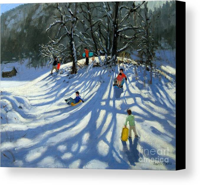 Winter Canvas Print featuring the painting Fun In The Snow by Andrew Macara