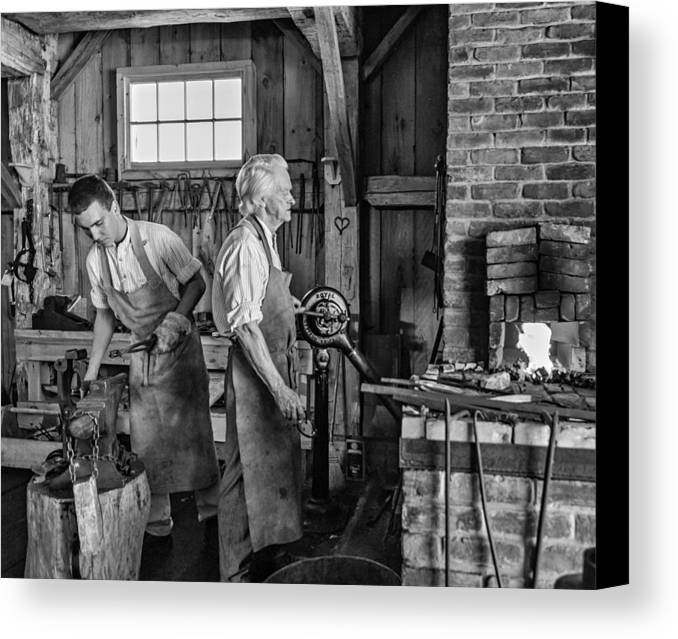 Blacksmith Canvas Print featuring the photograph Blacksmith And Apprentice 2 Bw by Steve Harrington