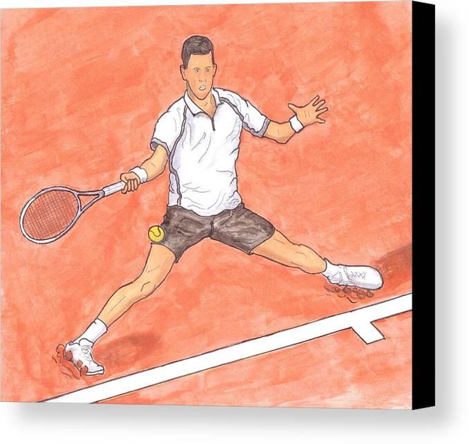 Novak Djokovic Canvas Print featuring the painting Novak Djokovic Sliding On Clay by Steven White