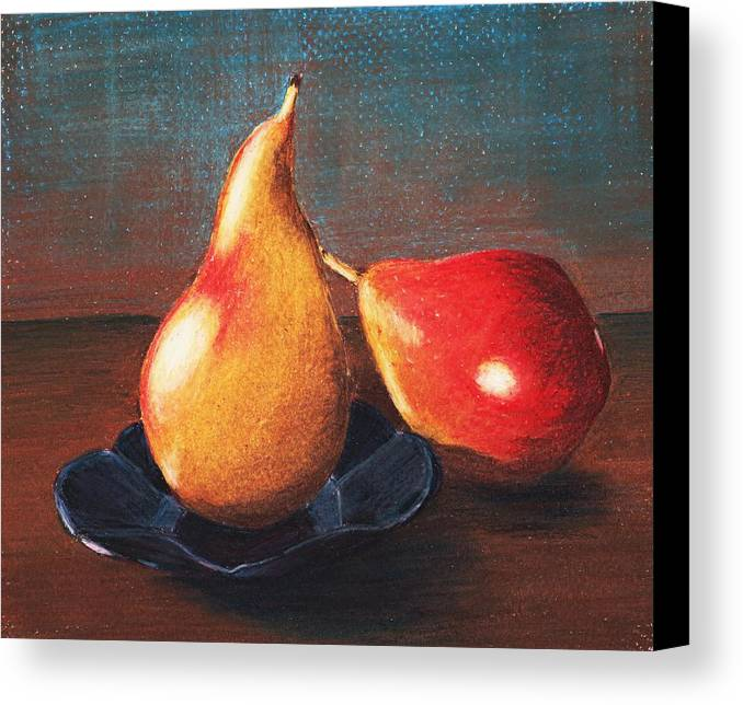 Interior Canvas Print featuring the painting Two Pears by Anastasiya Malakhova