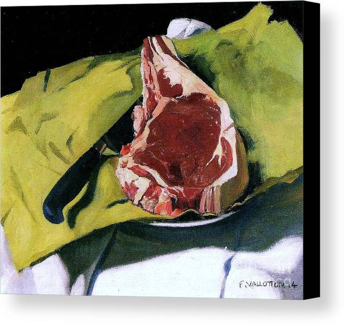 Pd Canvas Print featuring the painting Still Life With Steak by Pg Reproductions