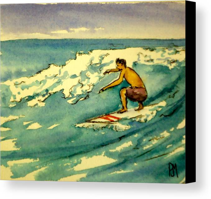 Surfing Canvas Print featuring the painting Surfer In The Sky by Pete Maier