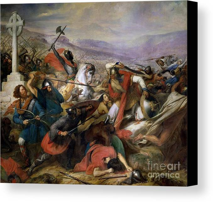 Poitiers Canvas Print featuring the painting The Battle Of Poitiers by Charles Auguste Steuben