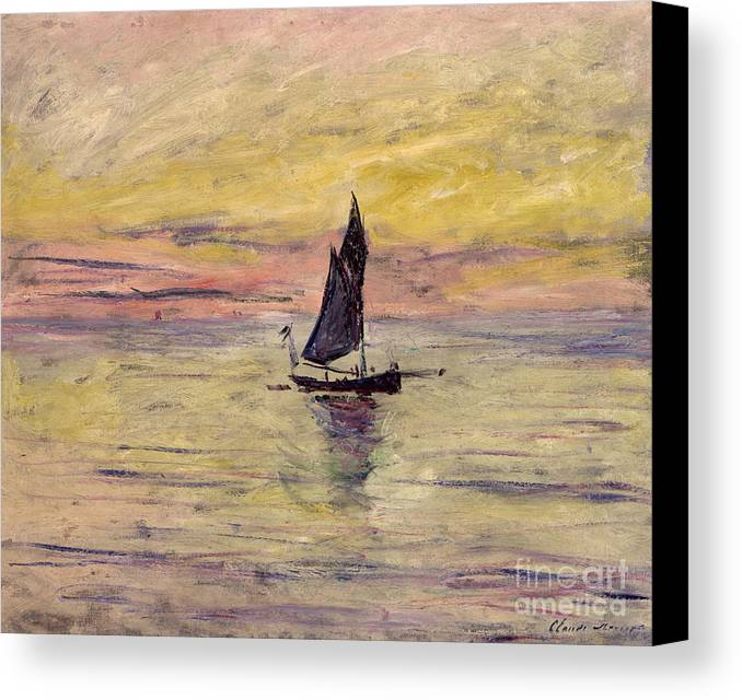 French Canvas Print featuring the painting The Sailing Boat Evening Effect by Claude Monet
