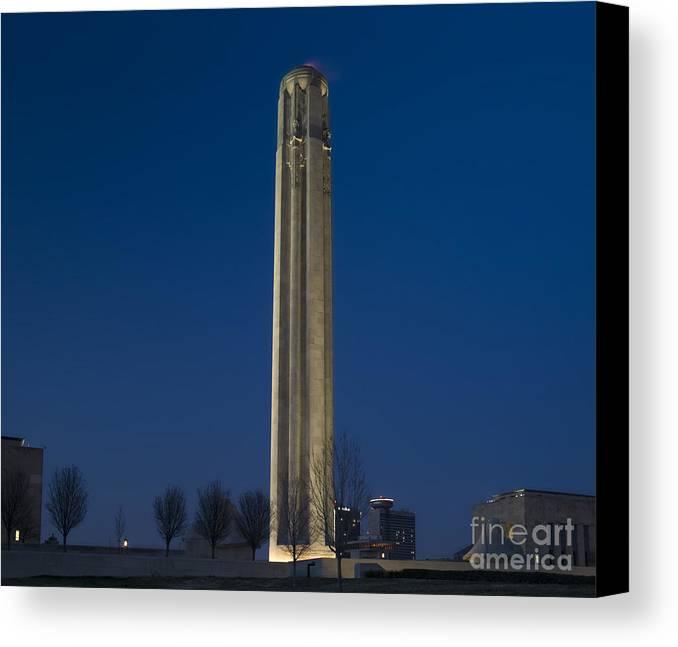 Liberty Memorial Canvas Print featuring the photograph Liberty Memorial At Dusk by Tim Mulina